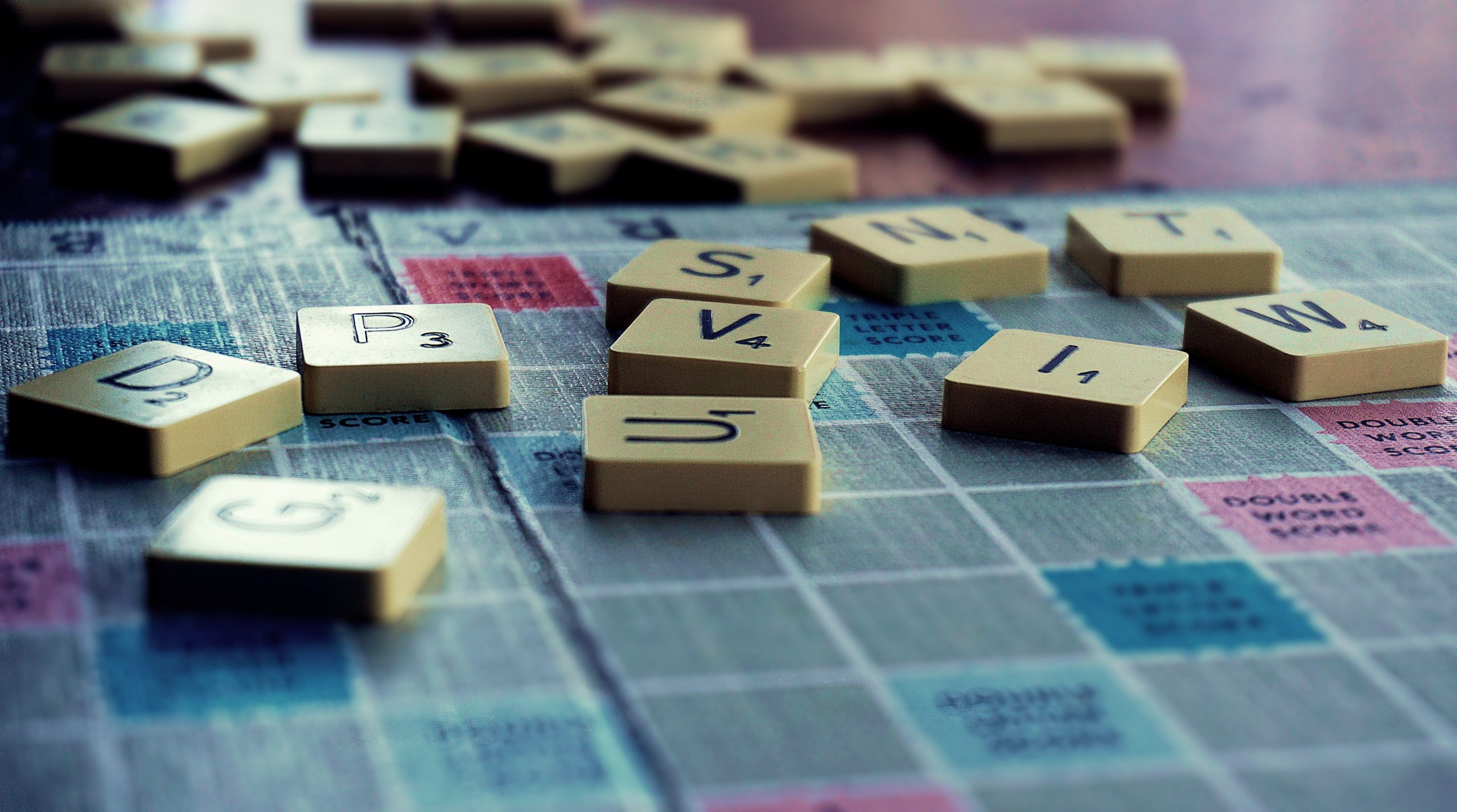 word game letters on board