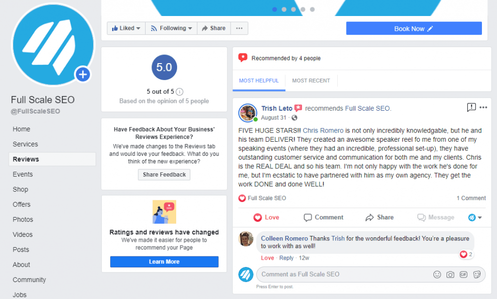 Full Scale SEO 5 Star Reviews Facebook