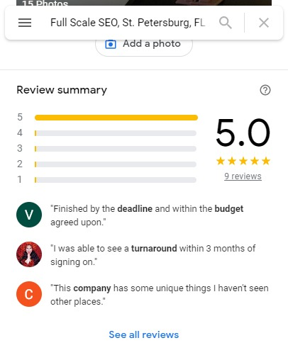 Full Scale SEO 5 Star Reviews GMB
