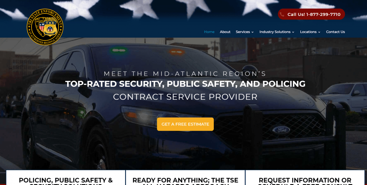 Private Security Website Design Example