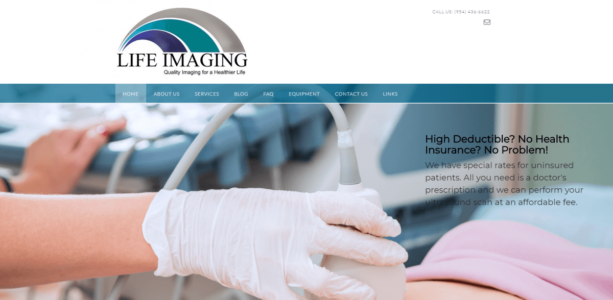 Medical Imaging Website Design Example